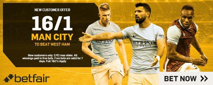 Betfair Promo Code for 16/1 Man City to beat West Ham Enhanced Free Bet for the Premier League match with Man City v West Ham.