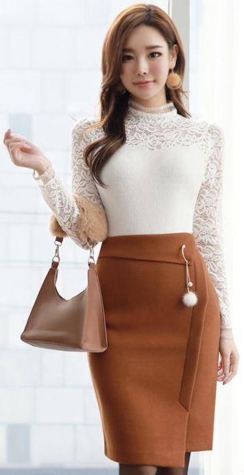 StyleOnme_Mink Fur Decorative Detail Pencil Skirt #fur #pencilskirt #koreanfashion #kstyle #kfashion #feminine #wintertrend