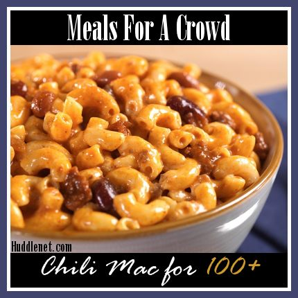 Recipe for Chili Mac to feed 100+ people. Double, triple or cut recipe in half to feed more or less people.