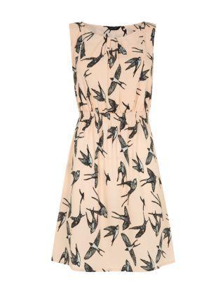 Shell Pink (Pink) Pink Swallow Bird Print Sleeveless Dress | 306265772 | New Look