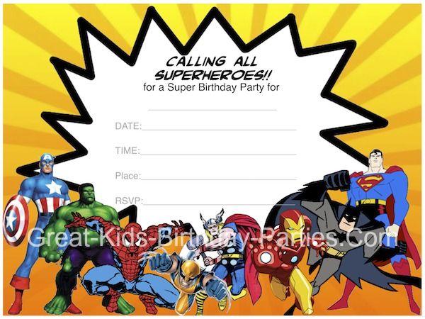 Free #Superhero Invitations  - Superhero Printables including invitations, superhero comic bubbles, coloring pages and lots more!