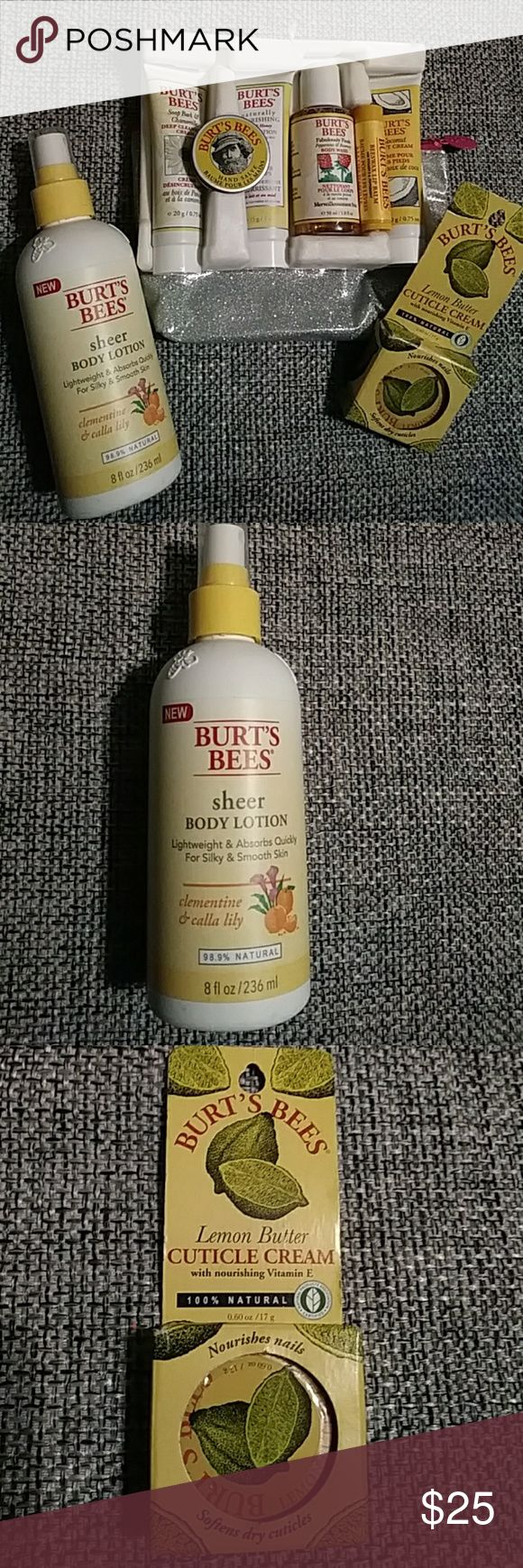 Burt's Bees Bundle 🐝Head to Toe Burt's Bees set. Bonus sheer body lotion, spray lotion clementine & calla lily. Lemon butter cuticle cream. All unopened and unused. Sparkle bag is included for a carrying bag. Burt's Bees Makeup