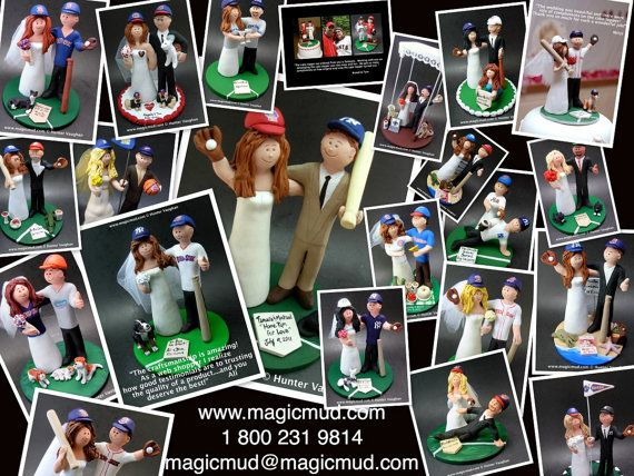 Baseball Wedding Cake Topper, New York Yankees Wedding CakeTopper, Baseball Wedding Anniversary Gift    Wedding Cake Topper for MLB Baseball Fans, custom created for you! Perfect for the marriage of a Red Sox, or any baseball team, loving Groom and his Bride! Simply email or call toll free with your own info and pictures of yourselves, and we will sculpt for you a treasured memory from your wedding!    $235 #magicmud 1 800 231 9814 www.magicmud.com