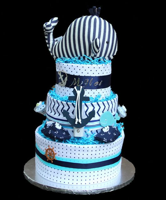 Nautical Diaper cake  . . . First baby boy cake ! Made this for my niece Brooke and baby Myles.