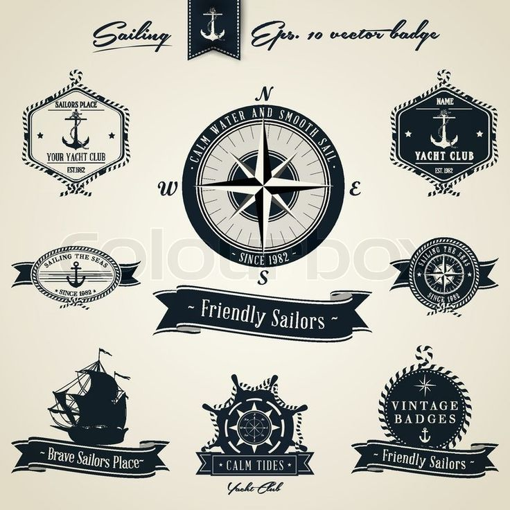 Stock vector of 'Vintage Nautical Badge set'