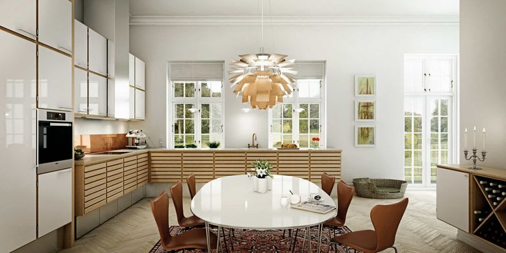 Kjøkken i eik   uno forms klassiske C-Serie-kjøkken i eiketre