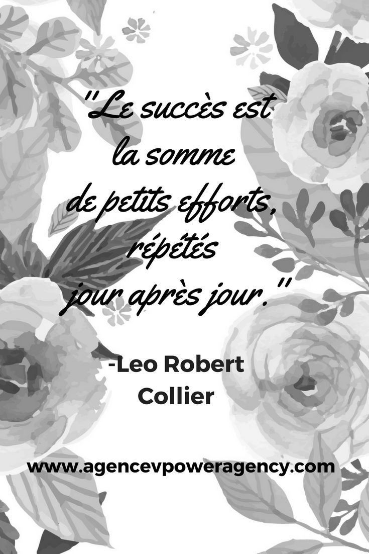 Les lundis motivation sont de retour!! // Motivation Monday's are back!! Success is several small actions taken every day. -Leo Robert Collier