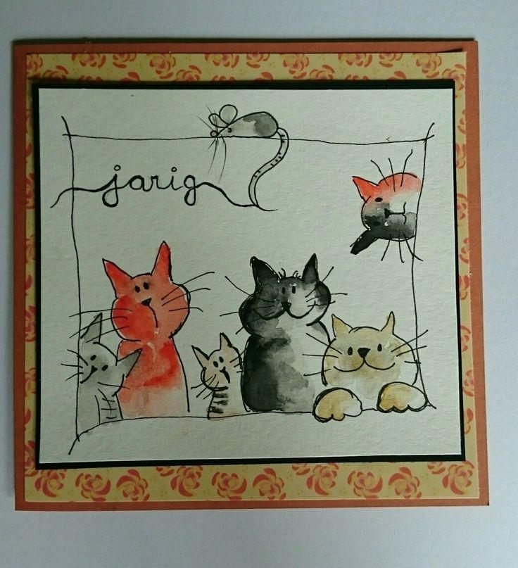 Handmade aquarel draaiing card