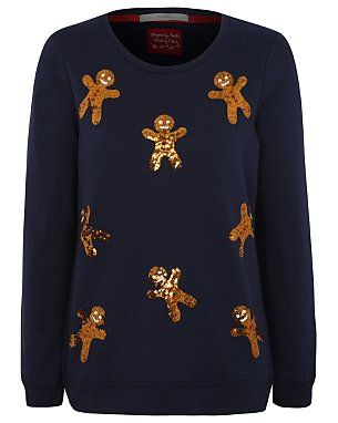 Sequin Gingerbread Man Christmas Sweatshirt- I REALLY WANT AN XMAS JUMPER