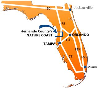 map of Florida peninsula showing location of Hernando County Nature Caost on the Gulf Coast of Florida