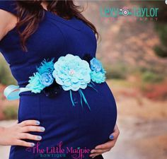 Mom to Be Gifts on Mother's Day for Her:  The Sweet Blu Baby Bump Sash by Little Magpie Bows @ Etsy