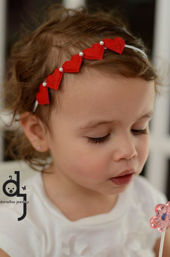 Toddler  Valentines Day Headband/Red and White Headband/Baby Headband/Elastic Headband/Photo Prop /Baby and Toddlers Headband