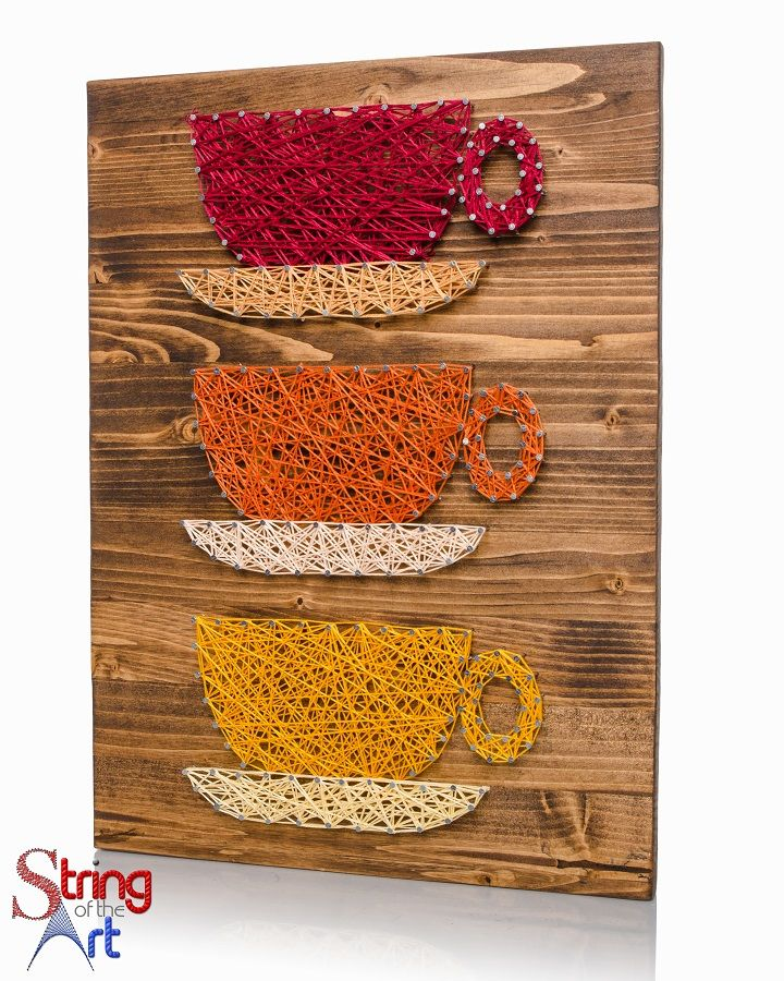 "String Art DIY Kit - Coffee Cups, Coffee String Art, Coffee Drinkers will love this beautiful string art.  Save 10% off the purchase price using the Coupon Code ""PinLove"" in String of the Art's Etsy Shop"