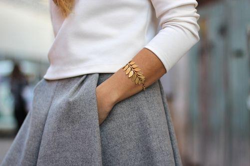 skirt + gold leaves