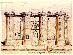 La Bastille, façade orientale. La Bastille fut utilisée occasionnellement comme prison dès le règne de Louis XI. C'est le cardinal de Richelieu qui la transforma en prison d'État à laquelle restent attachées les lettres de cachet, lettres signées du roi (ou le plus souvent de ses ministres) ordonnant un emprisonnement sans jugement. Source: wikipedia france