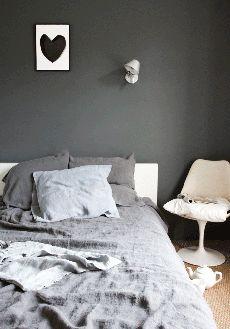 Love the stonewashed linen duvet cover dark grey (grey bedroom) @bodieandfou.com