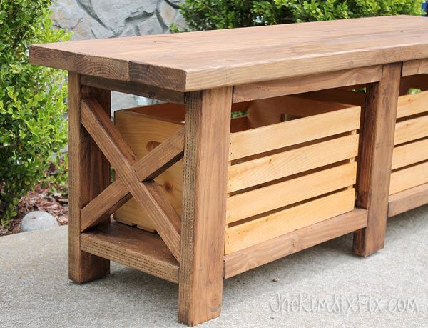 Build an X-leg outdoor wooden bench with crates for storage for under $40!
