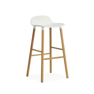 "Form Counter Stool in White Shell/Oak Base: $300 each x 2: Counter stool: 30.25"" h x 16"" w x 16.5"" d Also available with Walnut Base"