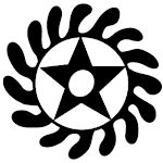 """SESA WO SUBAN  """"Change or transform your character """"  symbol of life transformation    This symbol combines two separate adinkra symbols, the """"Morning Star"""" which can mean a new start to the day, placed inside the wheel, representing rotation or independent movement."""