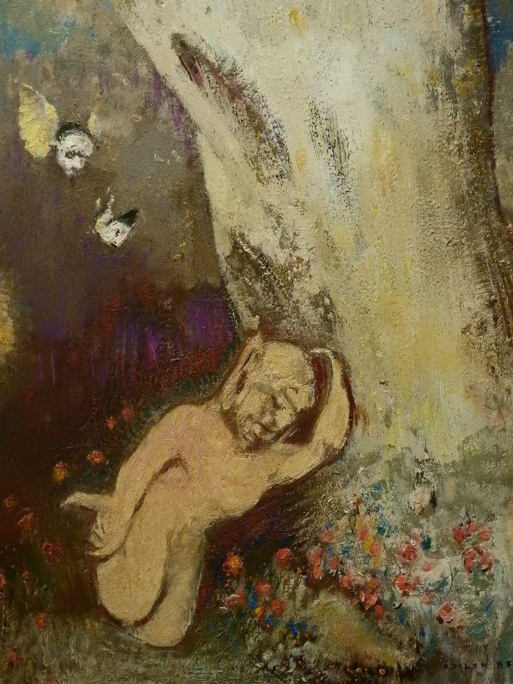 """REDON Odilon,1895-1900 - Le Sommeil de Caliban (Orsay) - Detail 007  -  TAGS/ art painter peintre details détail détails detalles painting paintings  peintures  """"peintures 19e"""" """"19th-century paintings"""" Museum Paris France sleep endormi asleep symbolism symbolisme """"ciel bleu"""" """"blue sky"""" pink rose cloud flowers visage portrait face model """"naked man"""" naked nude bare man flowers fleurs soleil sun """"poisson volant"""" """"flying fish"""" """"visage ailé"""" """"winged face"""" wings arbre tree wood bois"""
