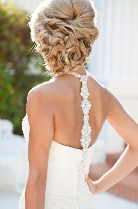 Beautiful Wedding Updos for Long Hair! Also, the back of the dress is gorgeous!