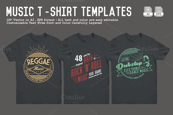 Music T-Shirt Templates by Rooms Design Shop on Creative Market