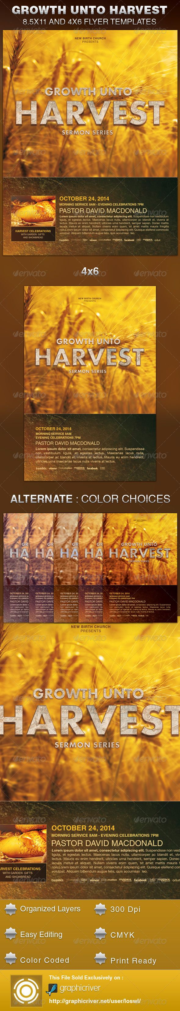 Growth unto Harvest Church Flyer Template — Photoshop PSD #christian #gospel • Available here → https://graphicriver.net/item/growth-unto-harvest-church-flyer-template/6001484?ref=pxcr
