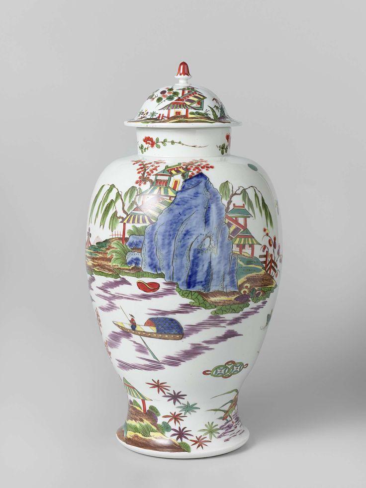 Meissener Porzellan Manufaktur   Lidded vase, Meissener Porzellan Manufaktur, c. 1725   Vaas van beschilderd porselein met een uitstaande voet en een gewelfd deksel met knop. Op de vaas zijn in onderglazuurblauw en vele kleuren landschappen met rotsen, bomen en struiken waarin Chinese figuren, tempels, vogels, vlinders en een man in een boot geschilderd. Aan een kant van de voetrand staan twee elkaar aanziende watervogels. De hals van de fles is beschilderd met bloemtakken in rood en groen…