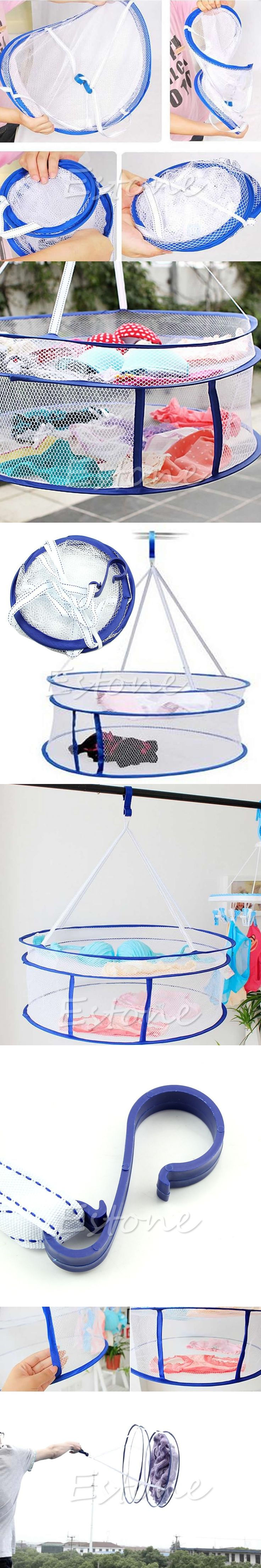 Drying Rack Folding Hanging Clothes Laundry Sweater Basket Dryer 2 Layers Net Washing Basket Dirty Clothes Sundries Basket Box