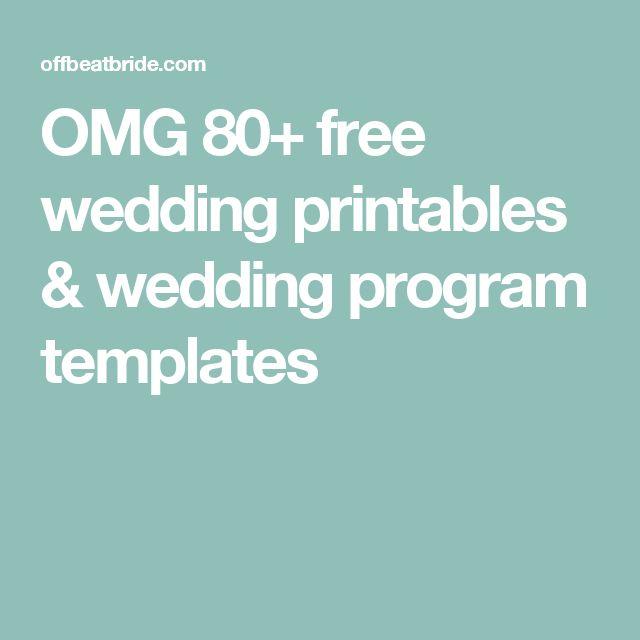 OMG 80+ free wedding printables & wedding program templates