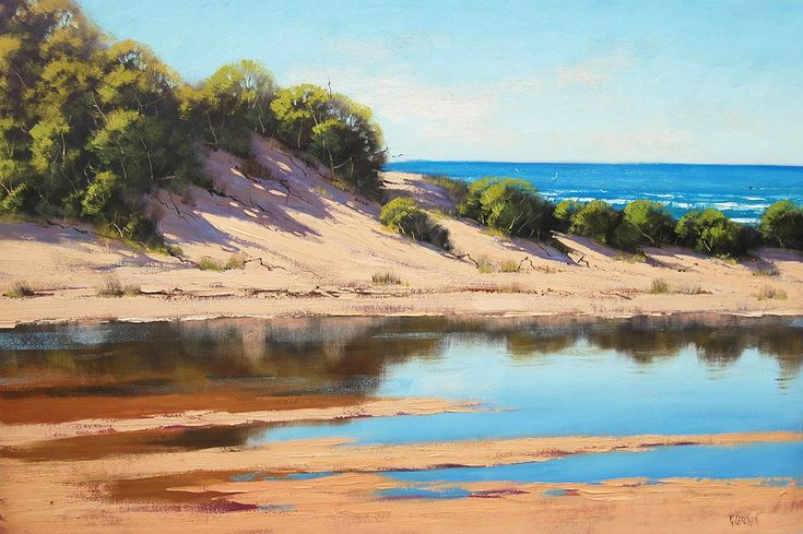 Coastal Sand Dunes Painting by *artsaus on deviantART