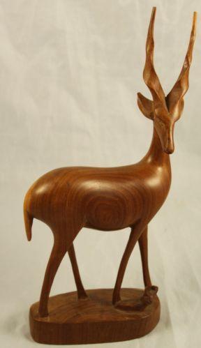 60er Jahre Teakholz Teak Holz Tier Antilope Springbock 31 cm hoch mid century