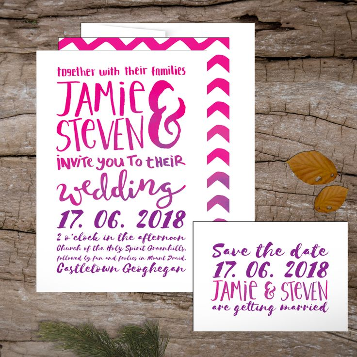 Hand-lettered Watercolour Wedding Invitations to start your exciting adventure together