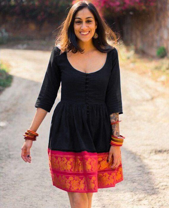 Midnight and Pink Fit & Flare Madurai Saree Dress - Mogra Designs