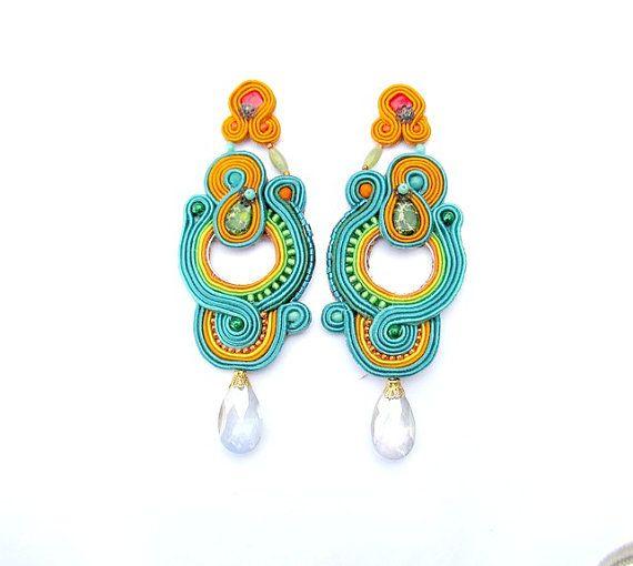 Colorful Long Clip Earrings, Long Clips, Long Colorful Earrings, Clip-on Earrings, Soutache Earrings, Soutache Jewelry, Colorful Long Clips