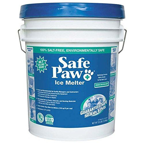 Safe Paw Ice Melter 35 Lbs/Pail  Non-toxic ice melt is guaranteed safe for pets^Concentrated pellets cover twice the area of rock salt^Timed-release formulation helps prevent re-icing for up to three days^Safe for animals, children, vegetation, and concrete brick and stone^Safe paw is available in the 35-pounds size