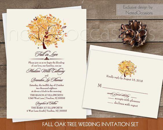 Rustic Fall Wedding Invitation Set Printable | Autumn Oak Tree With Fall  Leaves Invitation RSVP Digital