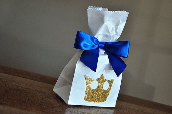 Royal Prince Baby Shower Favor Bags. Ships by ConfettiMommaParty