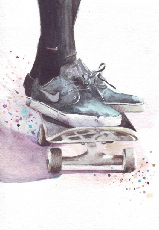 HM054 originele aquarel kunst van Skateboarder van HelgaMcL op Etsy