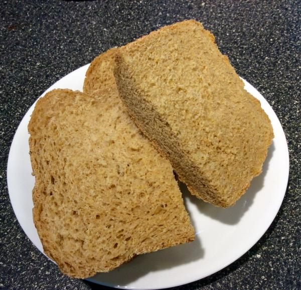 New England Anadama Bread (for Bread Machines) Recipe  I made a 2 lb loaf. I substituted 2c whole wheat flour for an equal amt of regular flour; substituted 1c milk for water, omitting the milk powder; and added another 1/2c of water to make a smooth dough. Came out just perfect!