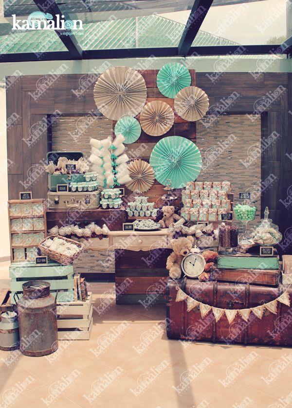 www.kamalion.com.mx - Mesa de Dulces / Candy Bar / Postres / Bautizo / Café & Menta / Mint & Brown / Vintage / Rustic Decor / Teddy / Algodones / Cotton Candy / Baul / Dessert.