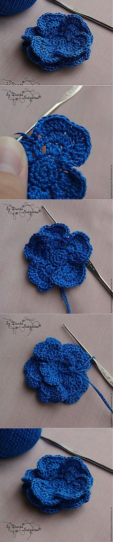 Объемный вязаный цветок крючком МК - Ярмарка Мастеров - ручная работа, handmade