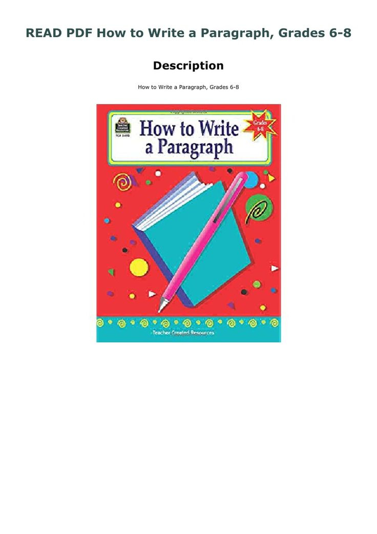 Read Pdf How To Write A Paragraph Grades 6 8 Writing Paragraph Reading