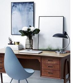 The classic Danish Drop Chair. Love this eclectic office space.