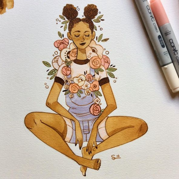 Flowery girls From my instagram @sibylline_m - Sibylline's Sketchblog