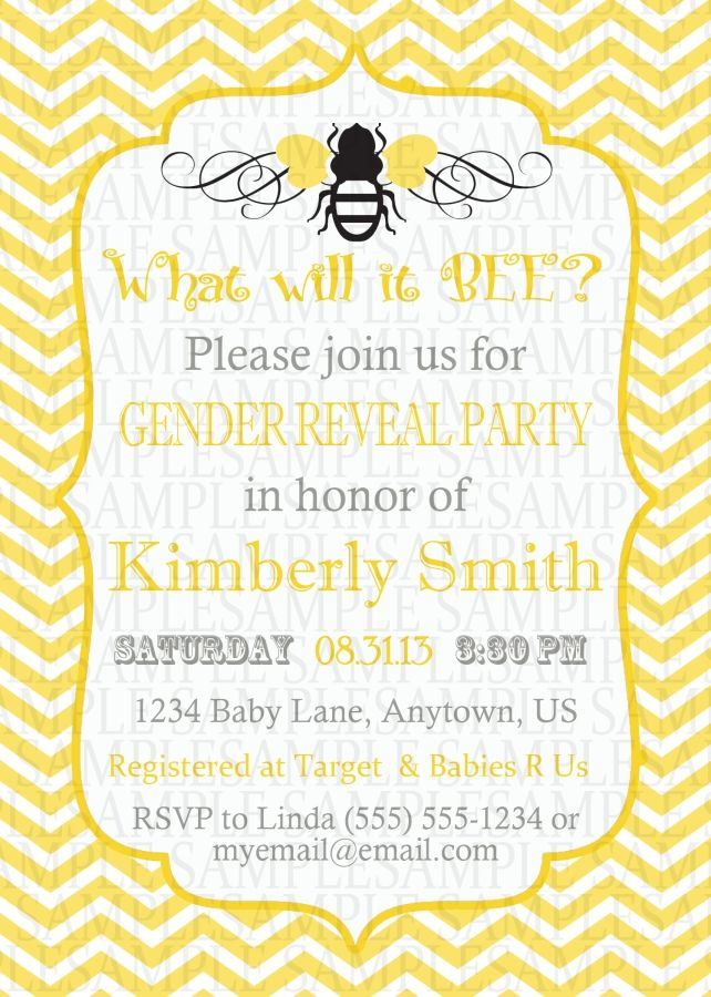 Yellow Chevron Bee Gender Reveal Party Digital Printable Invitations 11