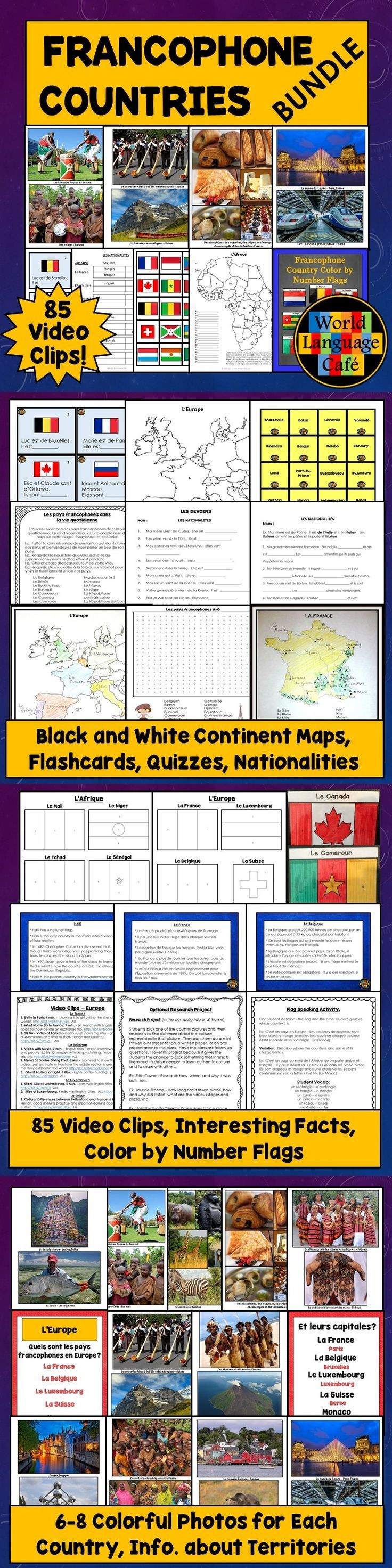 Want Francophone culture lesson plans for the whole year for your French classes? Students will learn about all the French speaking countries via colorful photos, maps, nationality practice, interesting facts, flags, video clips, and so much more. Great for peaking your students' interest in French class. - World Language Cafe