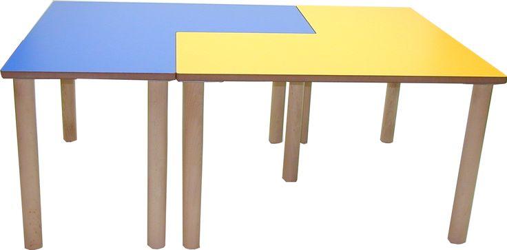 Conjunto de mesas infantiles Guay en L :: Las mesas infantiles en forma de L permiten una amplia variedad de composiciones para aprovechar y diversificar el espacio en las guarderías y escuelas. :: Mobiliario escolar :: 4patas.net :: Desde 115,28 €