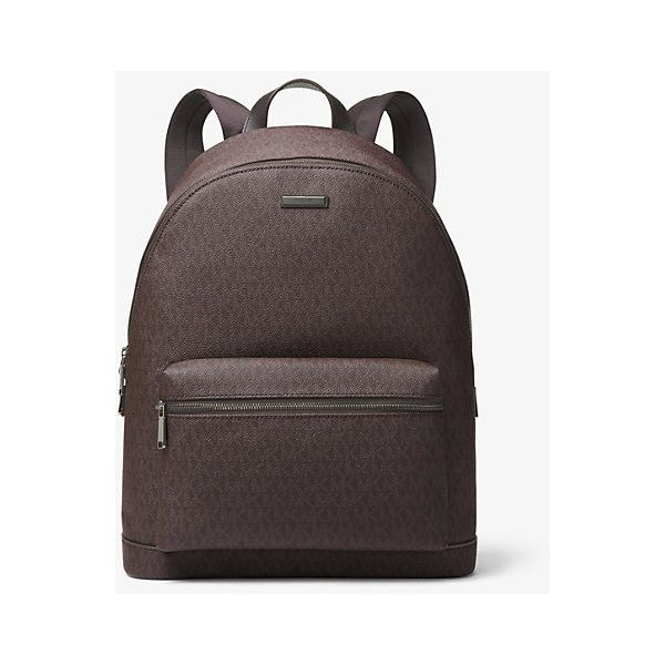 Michael Kors Mens Michael Kors Mens Jet Set Logo Backpack (13,180 THB) ❤ liked on Polyvore featuring men's fashion, men's bags, men's backpacks, brown, mens one strap backpack, mens brown leather backpack and mens backpack