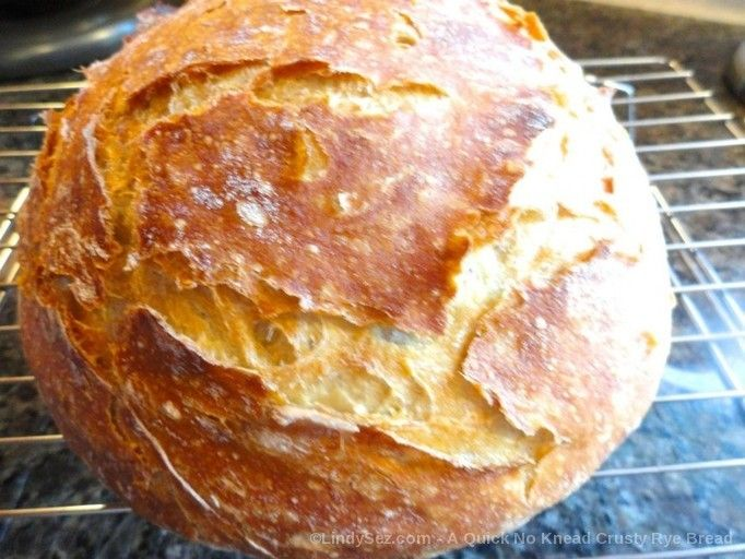 Can't you almost smell the deliciousness - A Quick No Knead Crusty Rye Bread - LindySez | Recipes, Tips, Blog